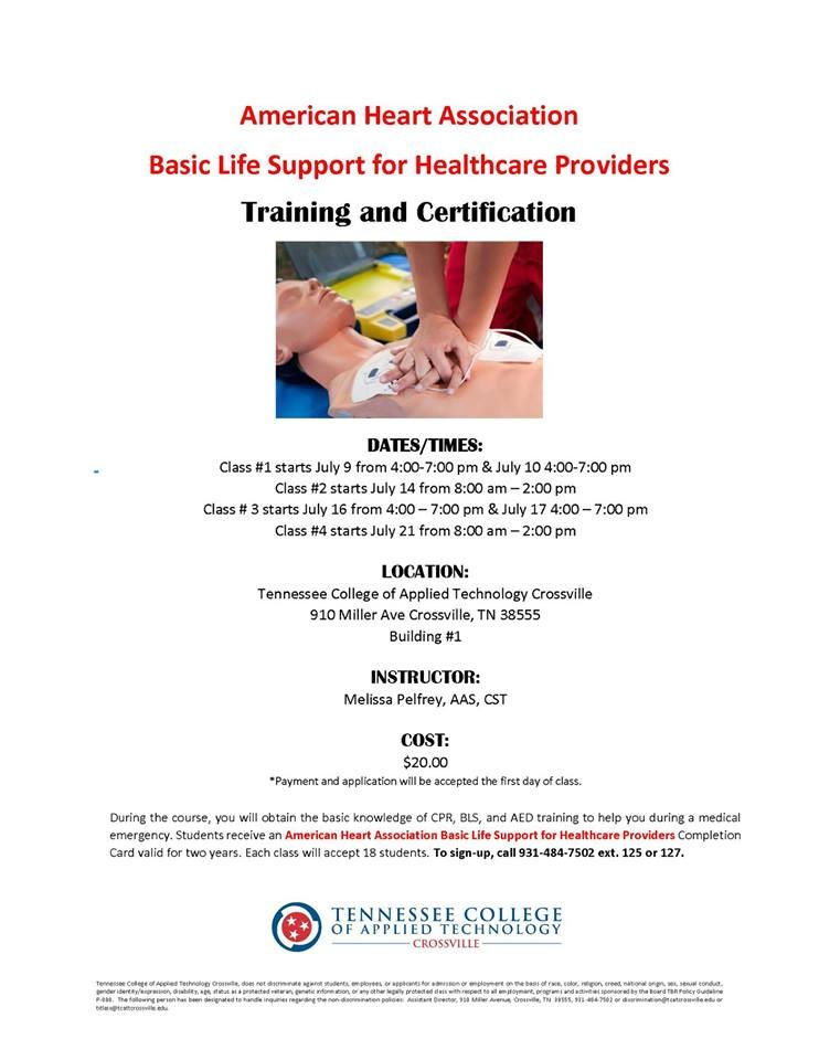 Aha Basic Life Support For Healthcare Providers Tcat Crossville
